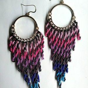 ⭐HP⭐Handmade Twisted Reins Long Hoop Earrings